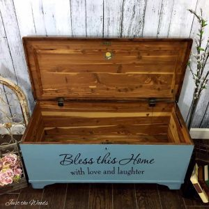 cedar wood chest, antique chest, painted furniture, shabby chic, rustic decor