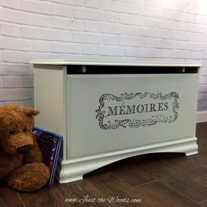 Painted Toy Box with Image Transfer by Just the Woods