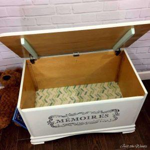 image transfer, toy box, decoupage, nyc