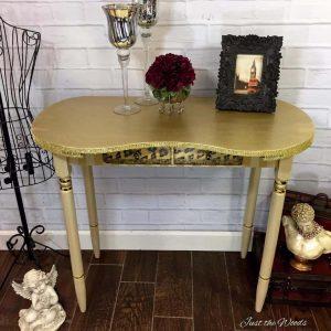 vintage vanity, gold desk, gold vanity, vintage desk, staten island