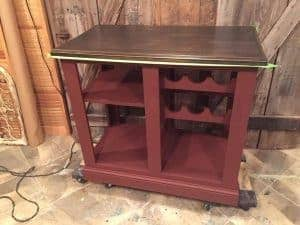 Kitchen Island Painted Cranberry, pure home paint, chalk paint, painted island, wood kitchen island
