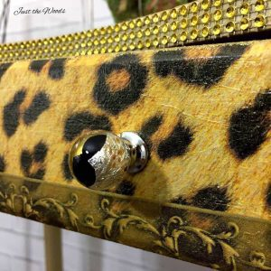 leopard print, decoupage, glitter desk, gold vanity, gold furniture, glam furniture bling