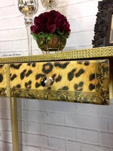leopard print, decoupage, rhinestones on furniture, staten island