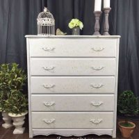 Cottage Chic Painted Dresser with Floral Stencil