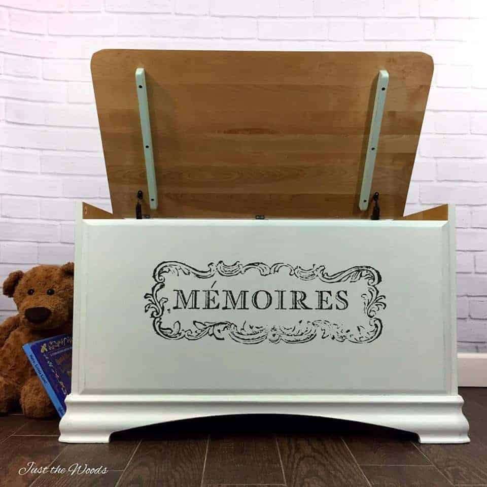 Image transfer on painted toy box by just the woods for Furniture transfers