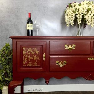 Cranberry Ethan Allen Stenciled Buffet