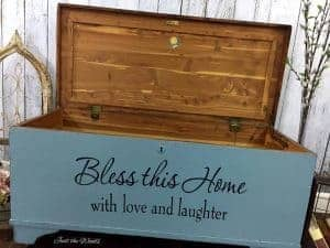 painted chest, painted furniture, cedar chest, just the woods