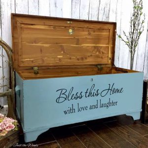painted cedar chest, reverse stencil, just the woods, staten island, nyc, nj