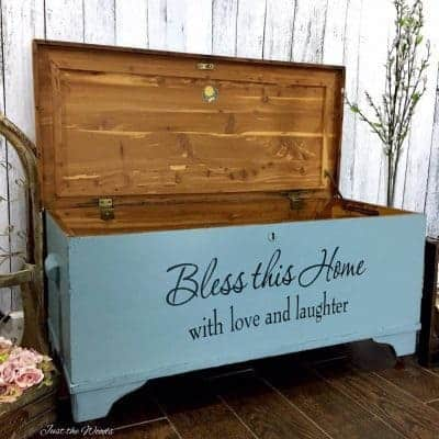 Painted Cedar Chest with Reverse Stencil