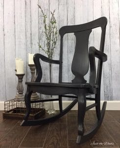 painted-rocking-chair, charcoal painted rocking chair, chalk paint, kristi kuehl, pure home paint, just the woods