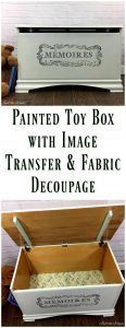 Painted Toy Box with Image Transfer and Decoupage