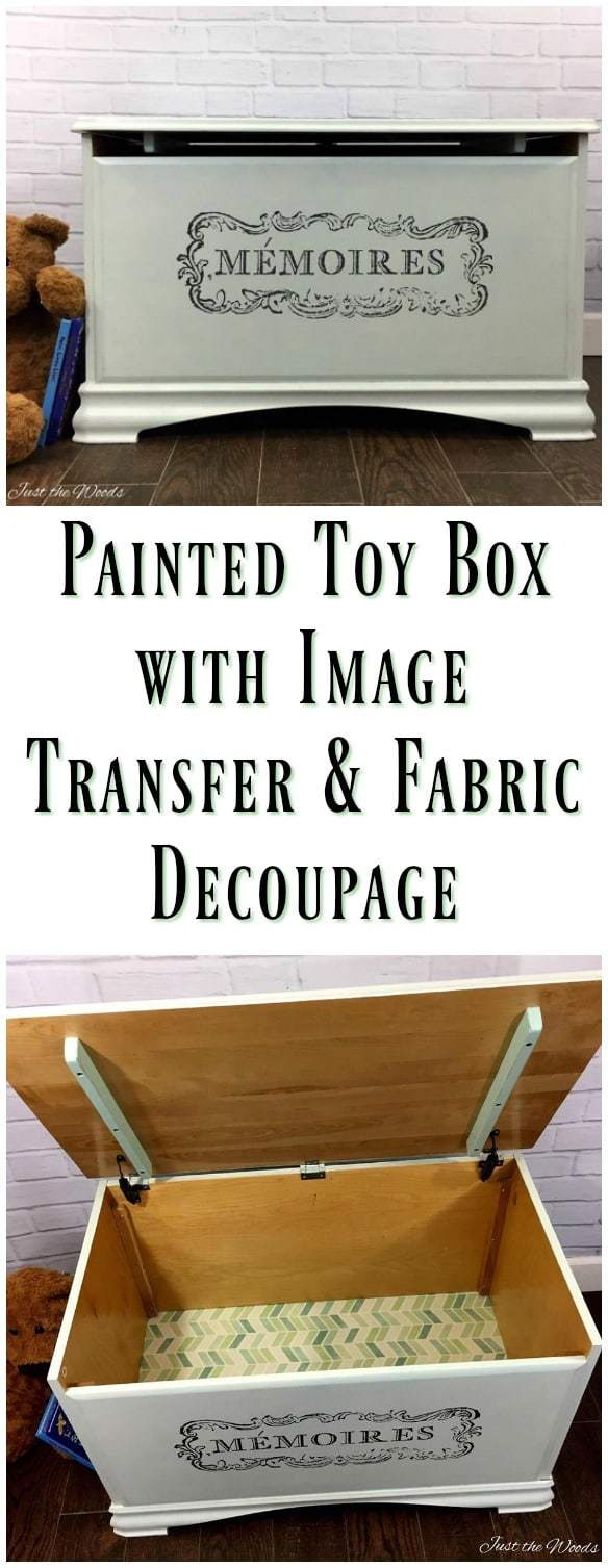 painted toy box with image transfer and fabric decoupage. Update a modern toy box into a unique place for toy storage. Add an image transfer to your painted furniture project for a one of a kind result. Store toys in way that looks appealing. #toybox #DIYtoybox #toystorage #imagetransfer #paintedfurniture