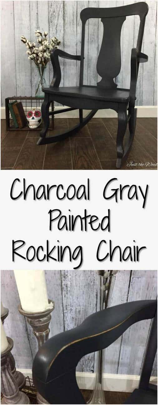 custom mixed charcoal gray painted rocking chair. A simple makeover creating a custom charcoal, graphite gray for a timeless look