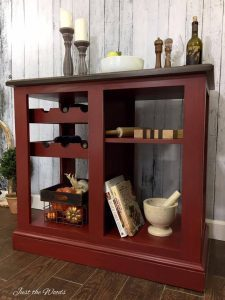 Red Painted Kitchen Island