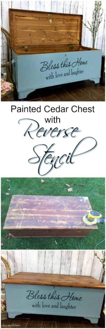 Painted Cedar Chest with Reverse Stencil by Just the Woods
