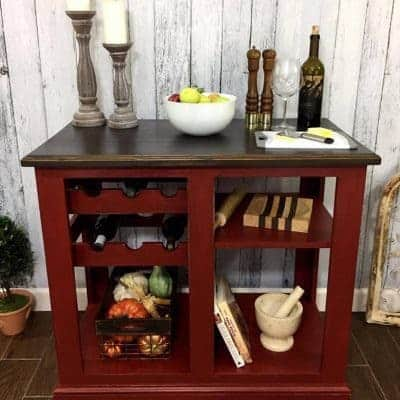 Painted Kitchen Island in The Perfect Shade of Red