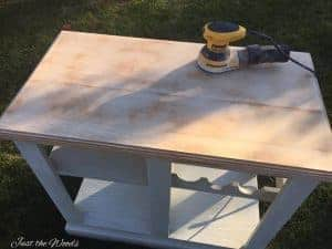 Sand to Bare Wood, kitchen island makeover, red kitchen island, cheap kitchen island