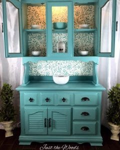 SeaFoam Stenciled China Cabinet