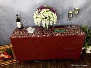 Cranberry Stenciled Credenza, stenciled buffet, just the woods