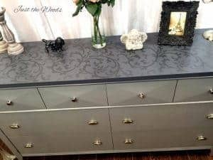 Tone on Tone Gray Stenciled Dresser