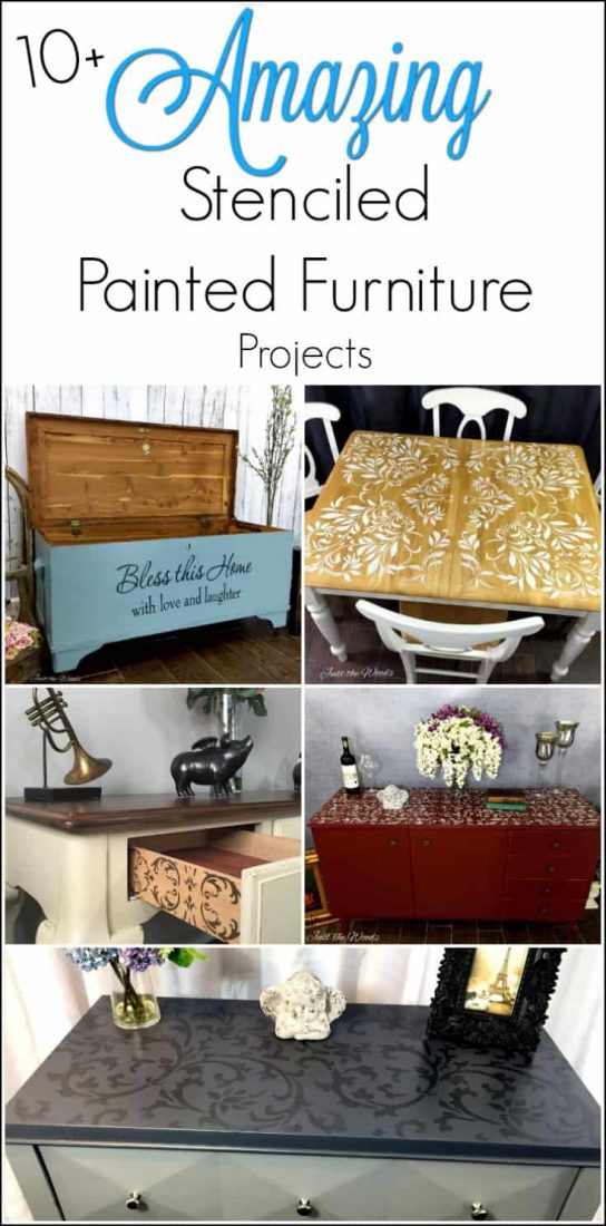 10 amazing stenciled painted furniture projects. Adding stencil to painted furniture gives an extra unique touch. Here are 10 amazing stenciled painted furniture projects.