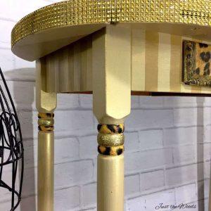 stripes desk, glitter on furniture, leopard print, gold desk