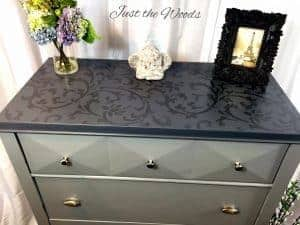 tone-on-tone-stenciled-dresser, gray dressers, stenciled furniture, painted dressers, tone on tone