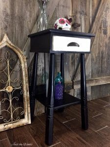 painted accent table, black and white furniture, black and white living room furniture