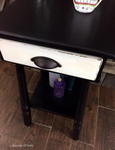 painted table, distressed, wood table, black and white furniture ideas