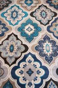 blue and cream area rug, diamonds area rug, affordable