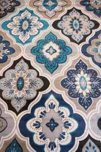 blue and cream area rug, diamonds area rug, affordable