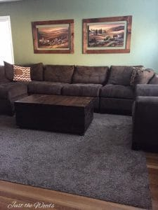 brown living room, large sofa, staten island, brown and green room