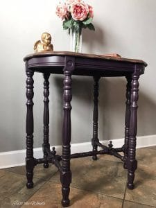 Eggplant chalk paint, Painted Parlor Table, Just the Woods, purple chalk paint