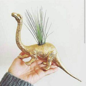 dinosaur-planter, dinosaur gift, unique dinosaur, gold dinosaur