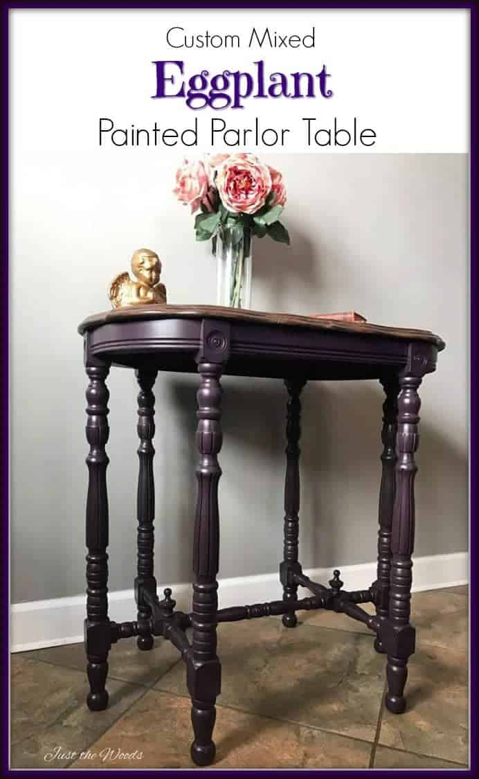 Antique parlor table makeover with a custom mixed eggplant purple paint color and fresh new stain over gorgeous wood grain.