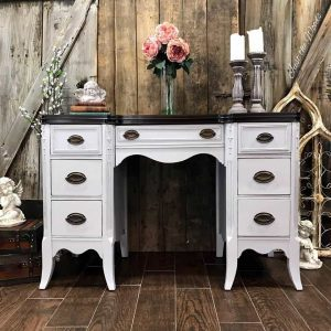 gray desk, chalk paint, gray paint, stain top, vintage, just the woods