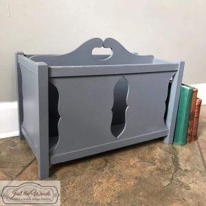 gray-painted-magazine-rack, painted furniture, staten island, shabby chic