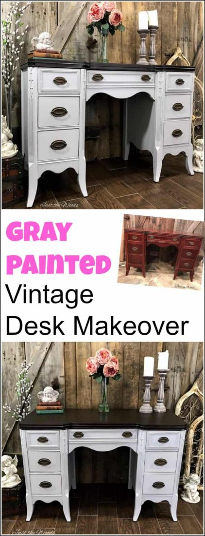 Vintage gray painted desk with an espresso stain top. painted furniture, painted desk, furniture painting, painted furniture makeover, chalk painted furniture, furniture painting techniques, chalk paint with stain, gray painted furniture, painted furniture before and after, painted desk ideas, how to paint a desk, painting a desk, chalk paint desk, chalk paint desk