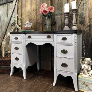 painted desk, painted furniture, stain top, gray desk, shabby chic