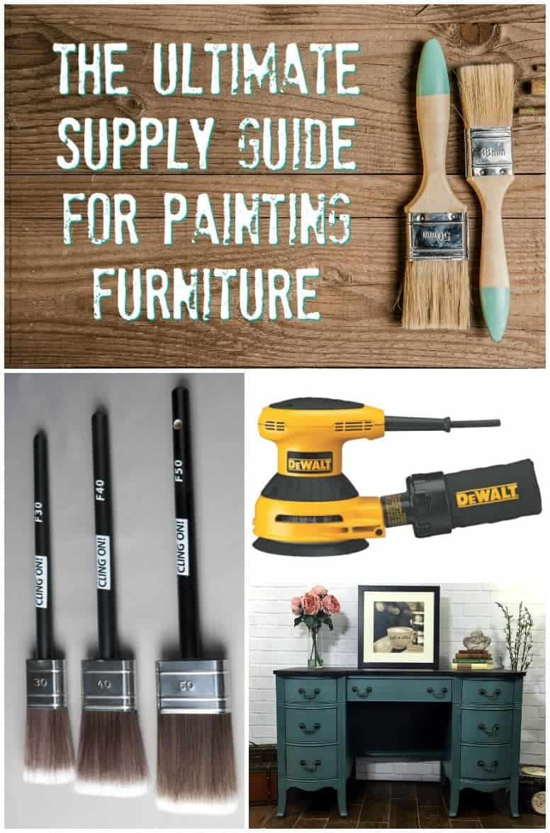 necessary supplies for painting furniture, including tools, brushes, paint and more. The Ultimate Supply List for Painting Furniture.   furniture painting tools   furniture painting supplies   what tools for painting furniture   supplies for painting furniture   how to paint furniture   best tools for painting furniture   best brushes for painting furniture   best paint for painting furniture   chalk paint   furniture paint   non toxic paint   paintbrushes   painting supplies   dixie belle paint   dewalt tools   sandpaper  
