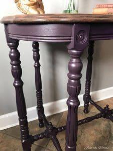 eggplant painted table, glazed table, restored vintage furniture