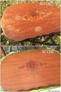before and after, damaged wood table, repair wood