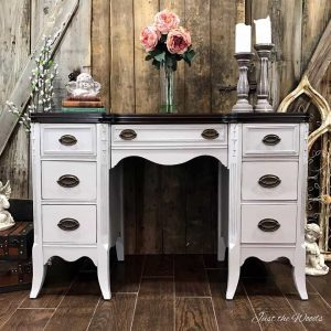 gray painted desk, chalk paint, vintage desk, painted furniture, nyc