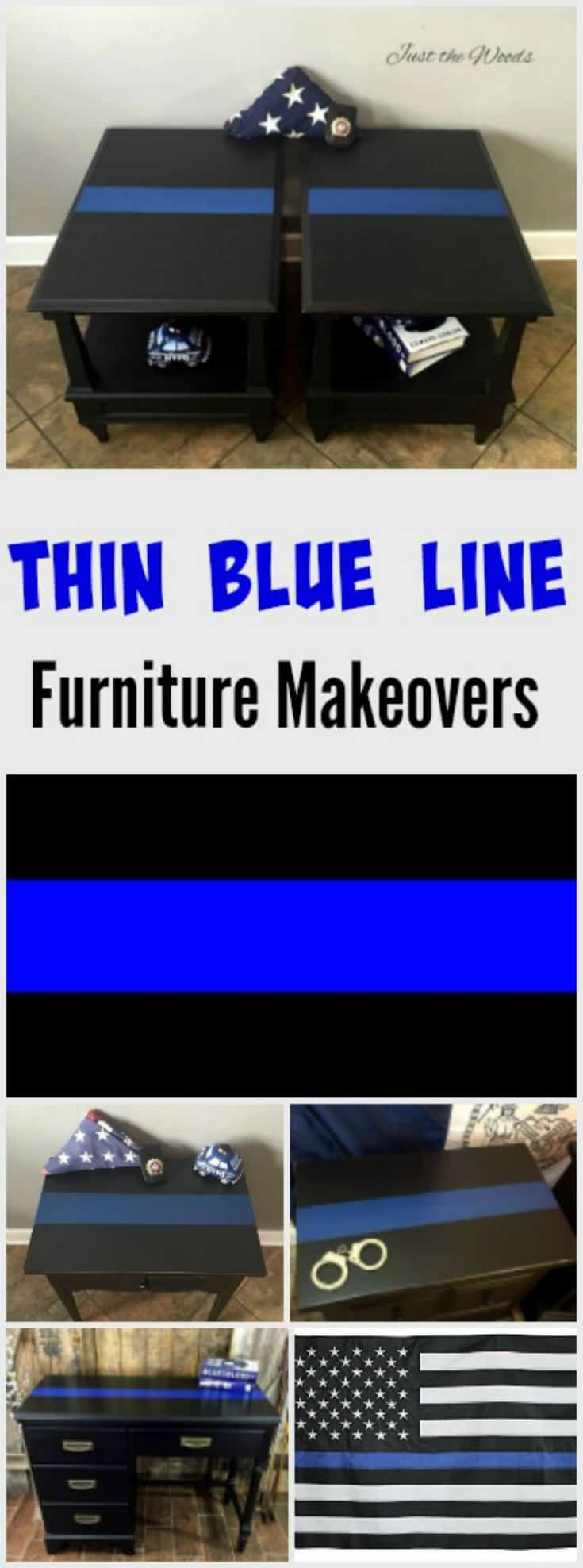 Thin blue line painted furniture. See how to add blue line decor to your LEO home to show police support.
