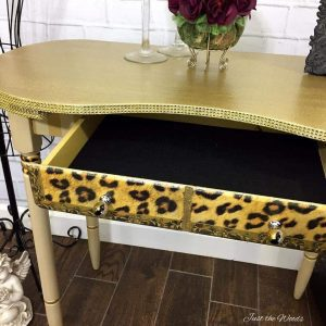 add-glitter-and-bling-to-furniture, vintage desk, glitter desk, kidney desk,