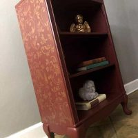 Cranberry Painted Bookcase with Added Stencil