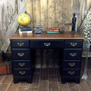 black-desk-with-stain-top, painted desk, vintage desk, black chalk paint, derby