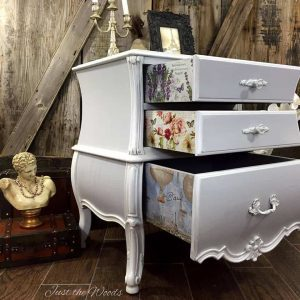 bombe-chest-with-decoupaged-drawers, french provincial chest, vintage furniture, painted chest, painted furniture,