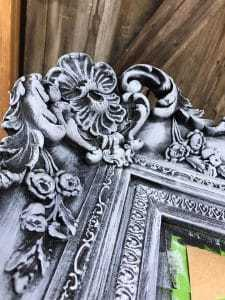 brushed-gray-details, dry brush, chalk paint, gray paint, ornate details, gray ornate mirror