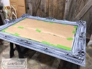 brushed-gray-paint, dry brush, chalk paint, painted mirror, gray ornate mirror